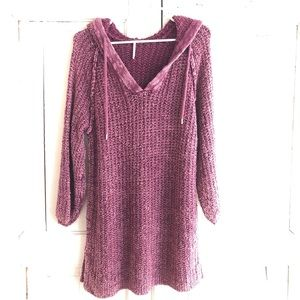 Free People Hooded Washed Wine Chunky Sweater M